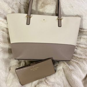 Kate Spade Colorblock Tote Handbag & Wallet Set